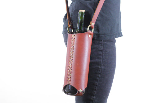 Wine Bottle Sling in Cherrywood Red Steerhide