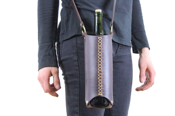 Wine Bottle Sling in Brown Horween Steerhide