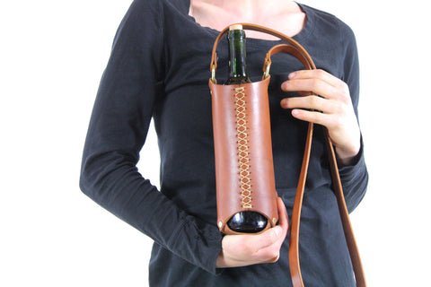Wine Bottle Sling in Honey Brown Steerhide