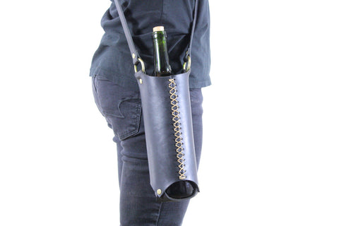 Wine Bottle Sling in Black Horween Steerhide