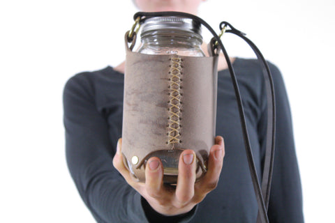 Mason Jar Sling in Taupe Cordoban Water Buffalo