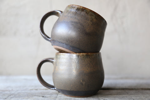 Pair of mugs in earthy glaze