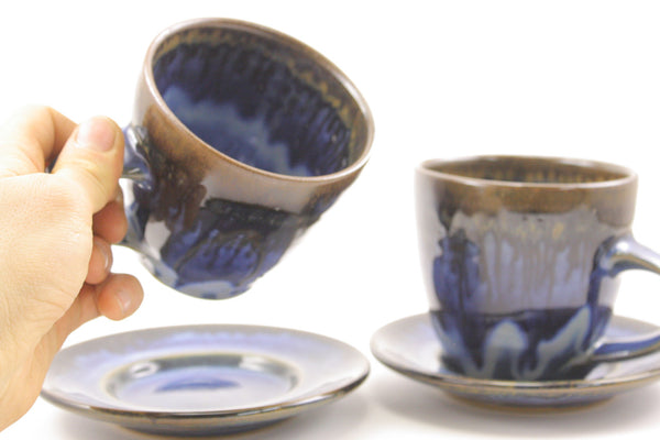 Pair of cups+saucers in deep blue glaze