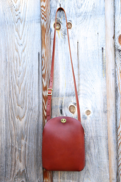 Large Minimalist Crossbody Bag in Cherrywood Red