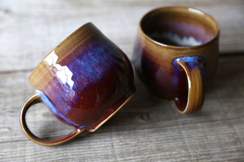 Pair of mugs in rainbow earthy glaze