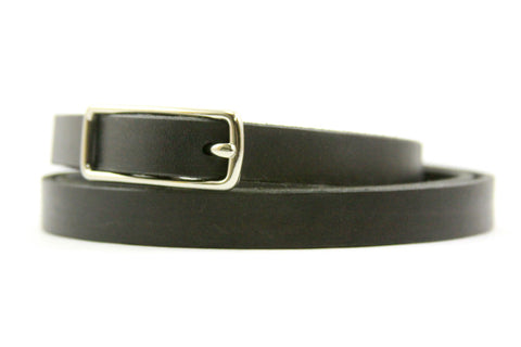 "5/8"" Leather Belt in Black American Steer Hide"