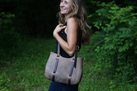 The Forest Tote in Grey cordoban water buffalo