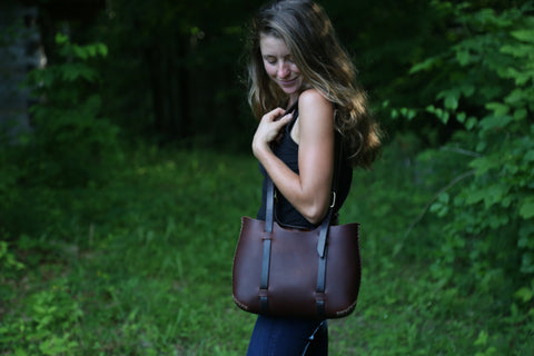 The Forest Tote in Brown cordoban water buffalo