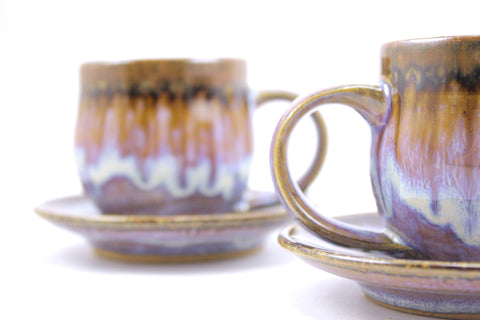 Pair of espresso cups in lavender glaze