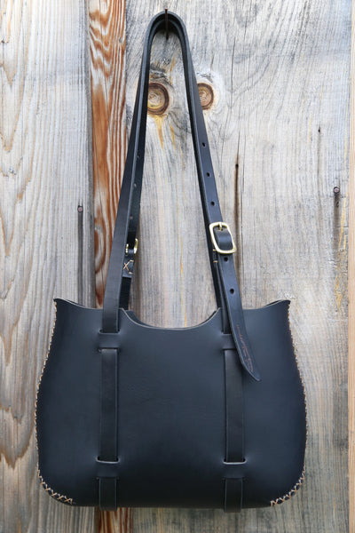 The Forest Tote in Black cordoban water buffalo