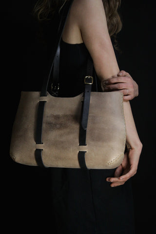 Wide Forest Tote in Grey Cordoban Water Buffalo