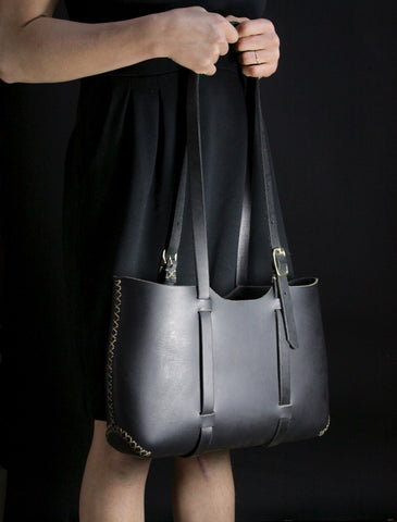 Wide Forest Tote in Black Cordoban Water Buffalo