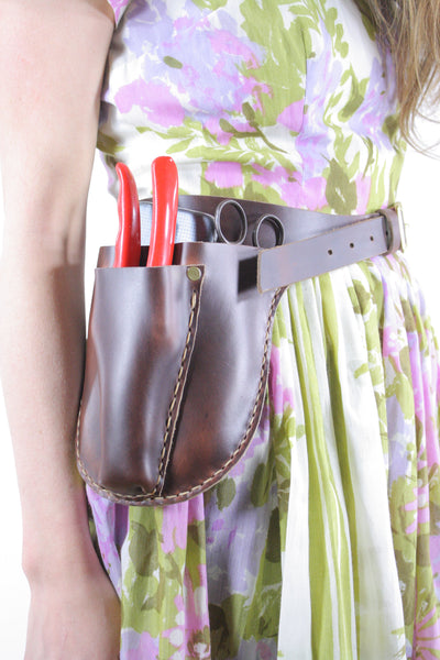 Handmade garden tool belt. Handmade leather tool belt made by Under the Tree in Ithaca, NY.