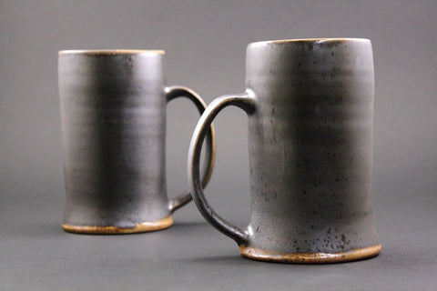 Pair of woodfired  mugs in espresso.