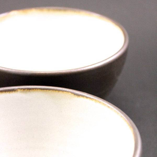 Pair of small woodfired  bowls in espresso.