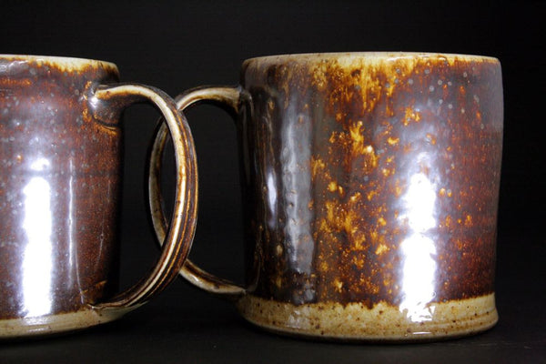 Pair of large woodfired  mugs in espresso.