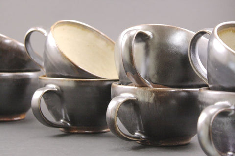 Pair of woodfired  soup mugs in espresso.