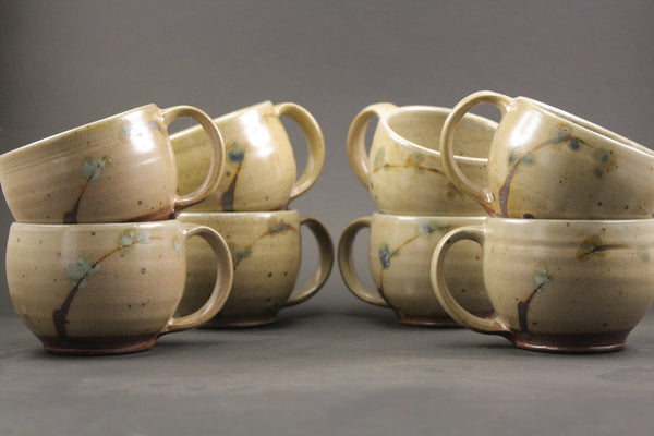 Pair of Wood Fired Mugs in Pussy Willow