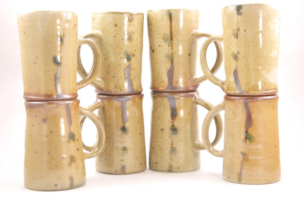 Pair of Small Wood Fired Mugs in Pussy Willow