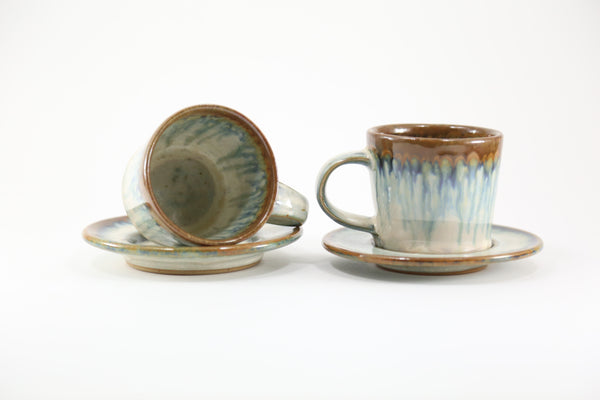 Pair of espresso cups in light blue glaze