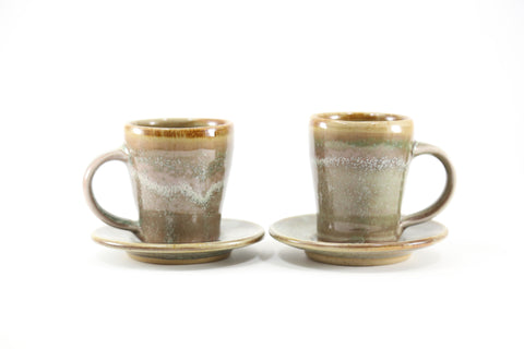 Pair of espresso cups in mossy glaze
