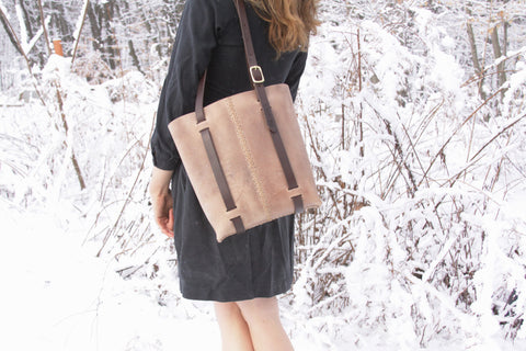 Rugged Tote in Grey Water Buffalo