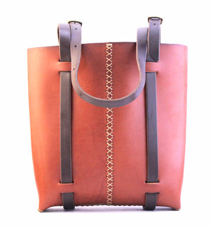 Rugged tote in Cherrywood Red Steer Hide