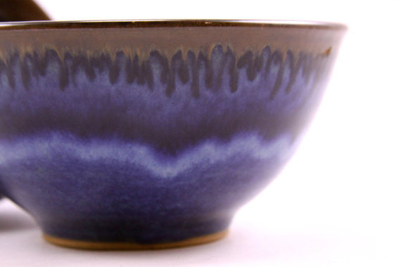 Two bowls in deep blue glaze