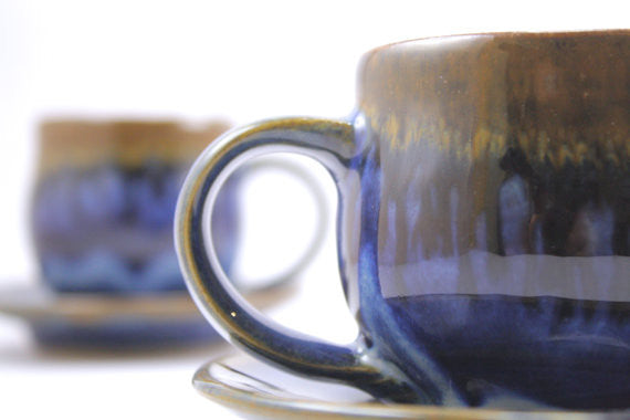 Pair of espresso cups in deep blue glaze