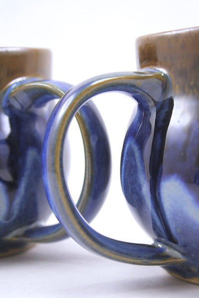 Pair of mugs in deep blue glaze