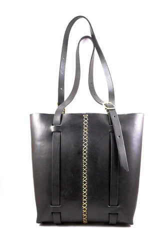 Rugged tote in Black steerhide