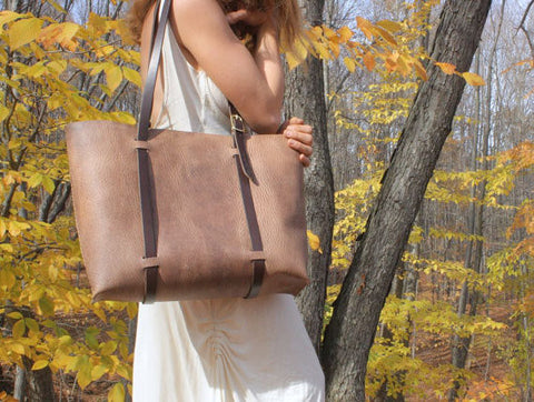 Classic large tote in grey cordoban water buffalo leather