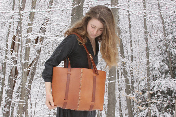 The Weekday Tote in Ochre Steer Hide