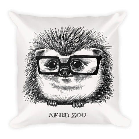 Hedgie Nerd Square Pillow