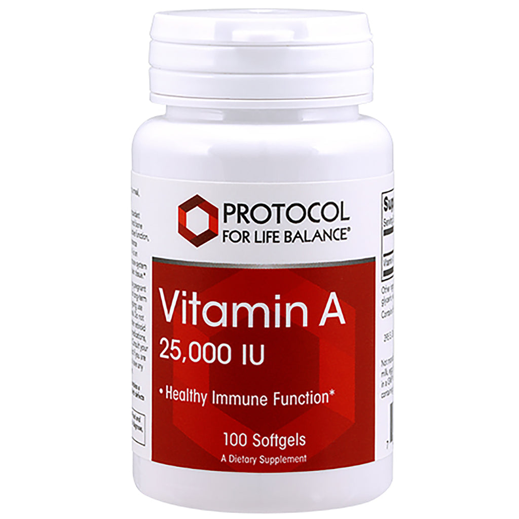 Vitamin A 25,000IU 100gels by Protocol For Life Balance