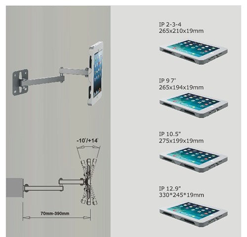 KuhVuh ASP903 Wall Mounted Steel Case with security lock for iPad 9.7 - Tiltable Dual Swivel Arm