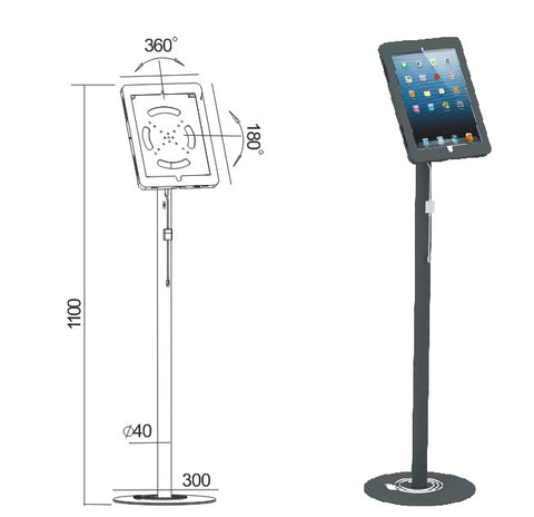 KuhVuh ASP932B iPad Steel Floor Stand with Security Lock for iPad 9.7