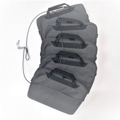 Serve as additional Security function by locking computer bags, luggage, etc, during setups, removal transportation.
