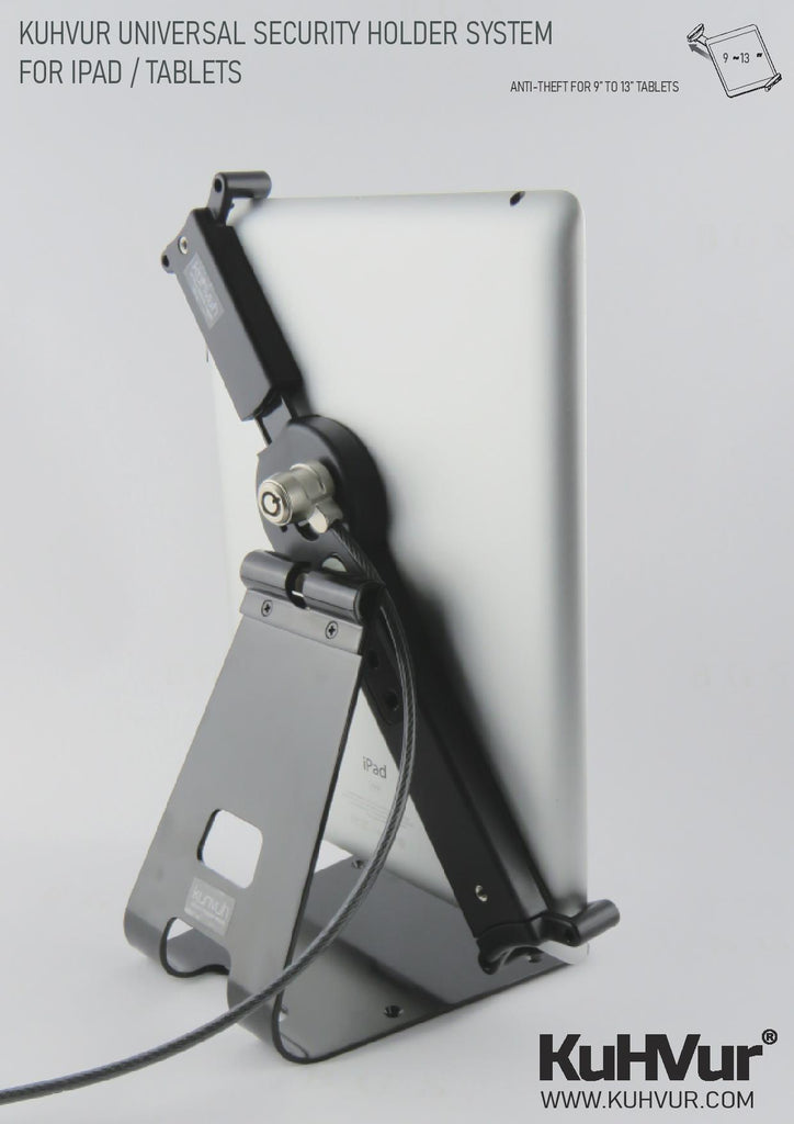 """KUHVUR ASP913 Universal iPad / iPad Pro / Surface Pro / Surface Go / Tablet PC Security Lock for 9""""~13.5"""" 平板電腦防盜鎖"""