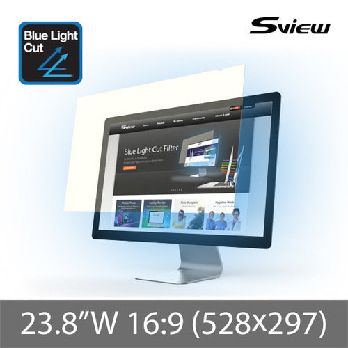 "S-View SBFAG-23.8W9 抗藍光濾片 (528x297mm) Blue Light Cut Screen Filter for 23.8"" Monitors (16 : 9) - Young Vision - www.yv.com.hk"