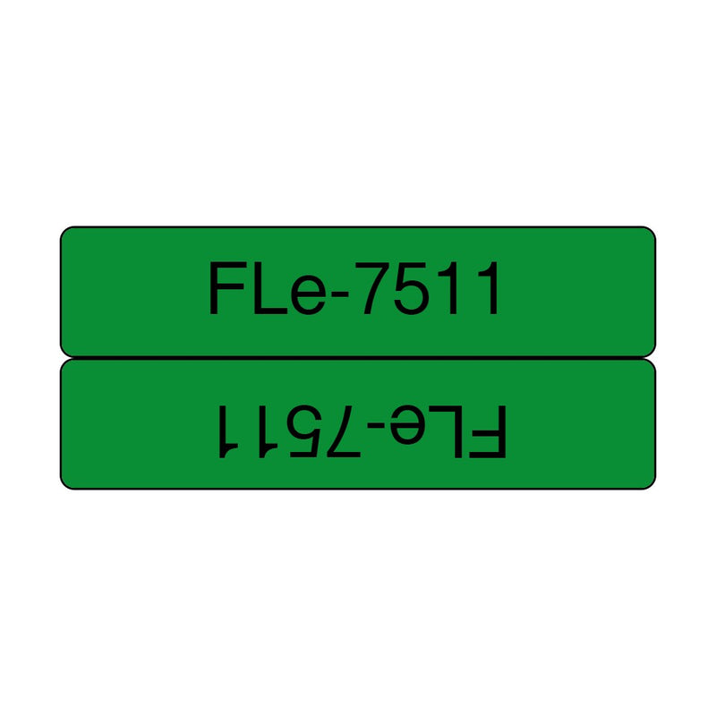 Brother FLe 7511 (45x10.5mm) 電線索引標籤 (已過膠/覆膜/護貝) 72 Laminated Flag Tape Labels 綠底黑字 Black on Green