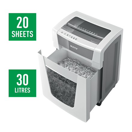 Leitz IQ Office Pro Paper Shredder P4 - Cross-cut 4x40mm / max 22 sheets / 4 hours / 30L
