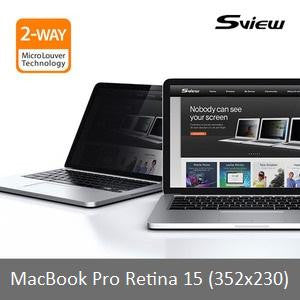 "S-View SPFAG2-MPR15 抗藍光螢幕防窺片 (352x230mm) 15"" Privacy Screen Filter with Blue light cut for Macbook Pro Retina 15"" - Young Vision - www.yv.com.hk"