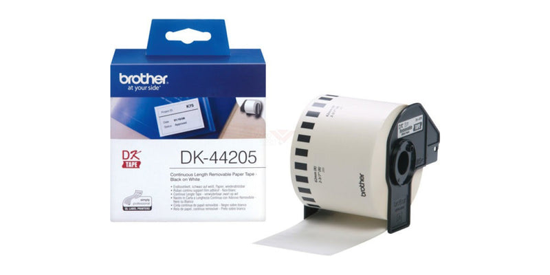 Brother DK 44205 (62mmx30.48M) 紙質便利貼 (連續型) 白底黑字 Removable Black on White Continuous Length Paper Label Tape - Young Vision - www.yv.com.hk