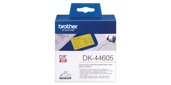 Brother DK44605 (62mmx30.48M) 紙質便利貼 (連續型) 黃底黑字 Removable Black on White Continuous Length Paper Label Tape - Young Vision - www.yv.com.hk