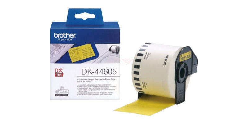 Brother DK 44605 (62mmx30.48M) 紙質便利貼 (連續型) 黃底黑字 Removable Black on Yellow Continuous Length Paper Label Tape - Young Vision - www.yv.com.hk