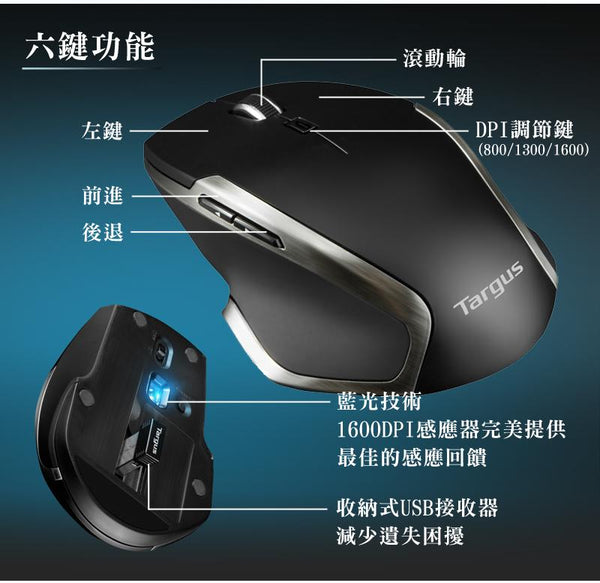 Targus AMW574 Wireless BlueTrace Mouse 無線藍光滑鼠 - Young Vision - www.yv.com.hk