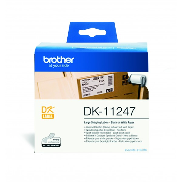 Brother DK 11247  (130 x 164mm)  x 180 紙質標籤 (已剪裁) 白底黑字 Black on White Paper Label Tape - Young Vision - www.yv.com.hk