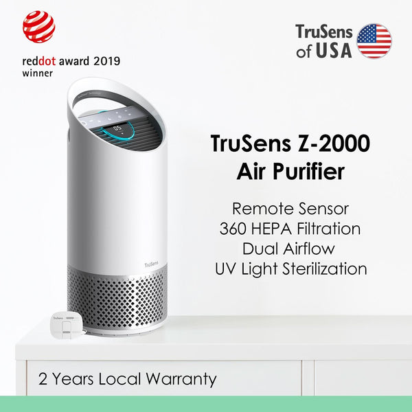 紫外光消毒殺菌空氣淨化機 Award-winning TruSens Z-2000 Air Purifier (Medium room 375sq.ft.) - Remote SensorPod - 360 HEPA Filtration - UV Sterilization - Dual Airflow - Young Vision - www.yv.com.hk