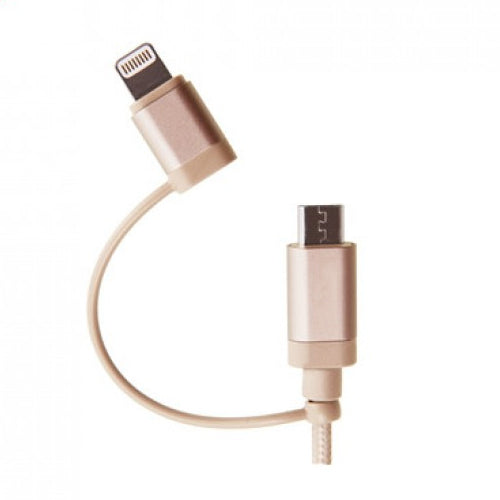 Targus  ACC99507AP-50	ALU Series 2-in-1 (Lightning & Micro USB) Cable (1.2M) - Gold - Young Vision - www.yv.com.hk